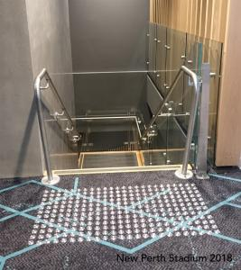 Perth Stadium SST Stainless Steel tactiles installed on carpet